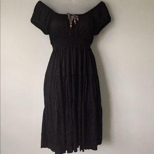 Free People Off Shoulder Stretch Tie Boho Dress